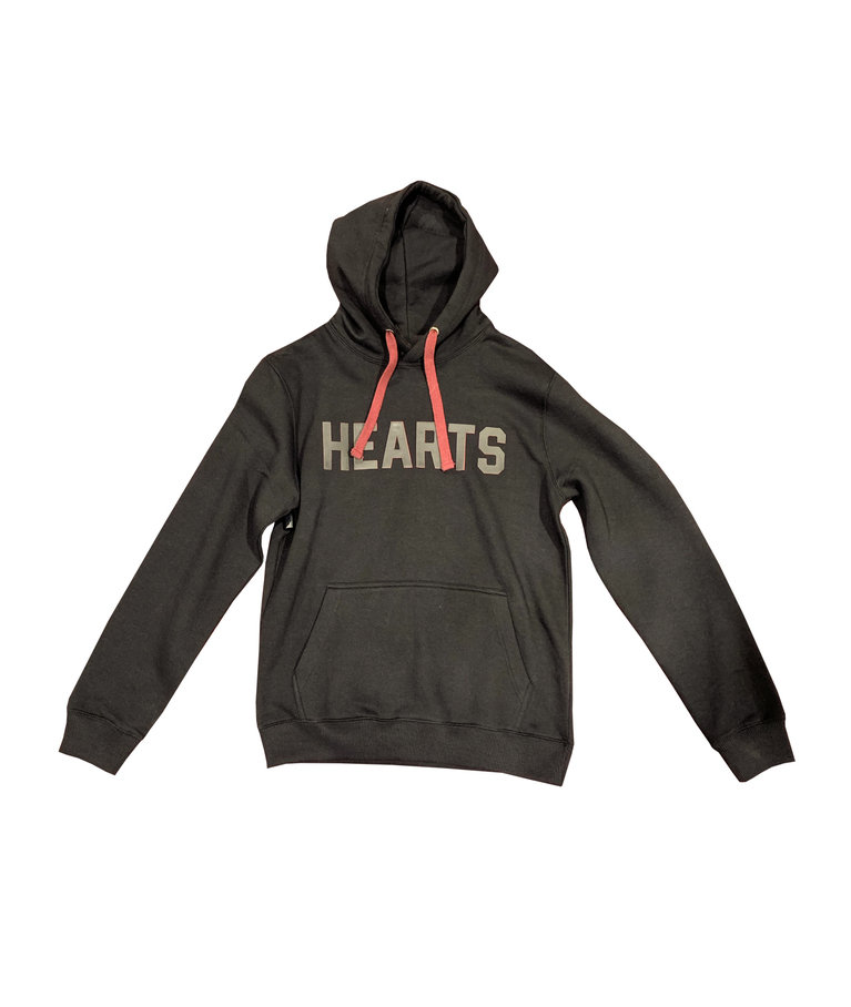 Black Hoody with Leather HEARTS lettering
