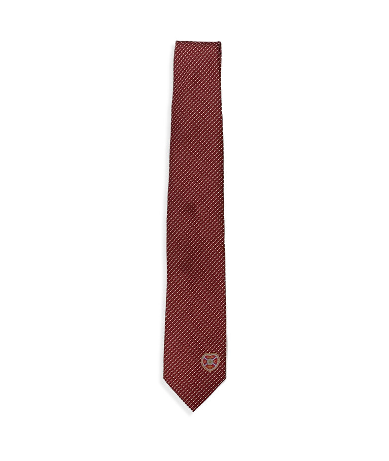 Maroon tie with diagonal dashes