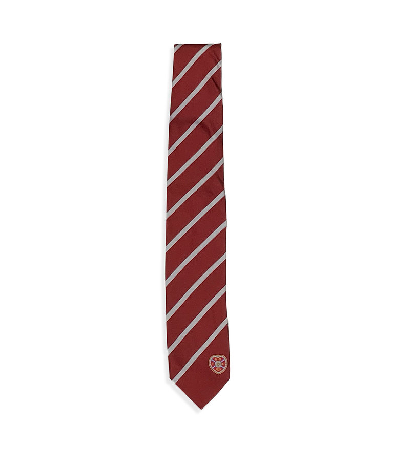 Maroon tie with Grey stripe