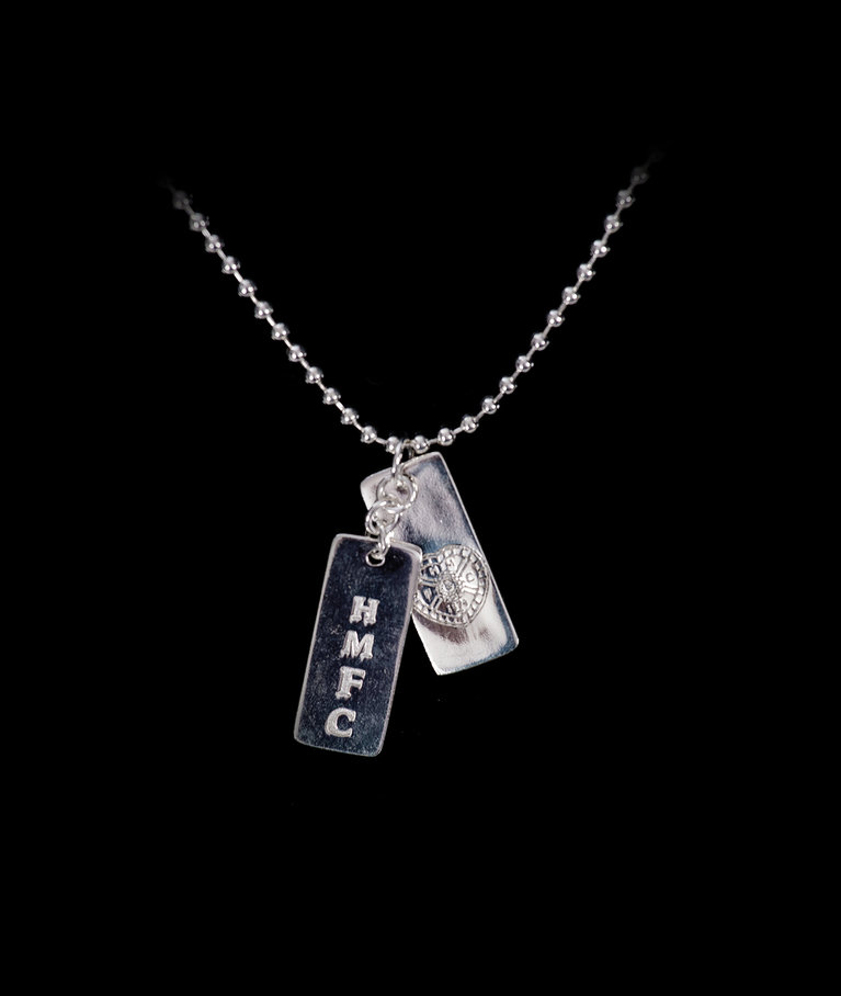 Silver Plated Double Dog Tag with Chain