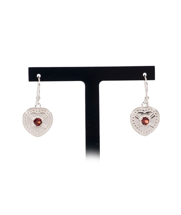 Silver Plated Drop Earrings with Garnet (pair)