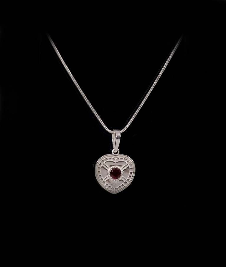 Silver Plated Garnet Pendant with Chain
